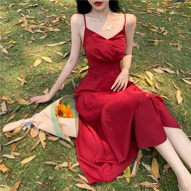 法式洋裝 法式連身裙女夏裝復古吊帶小黑裙高腰顯瘦A字中長裙子-85折鉅惠 滿299免運~ 秋冬特惠上新~