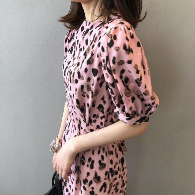氣質洋裝 粉色豹紋性感連身裙女夏季新款韓版氣質輕熟法式復古收腰顯瘦長裙-85折鉅惠 滿299免運~ 秋冬特惠上新~