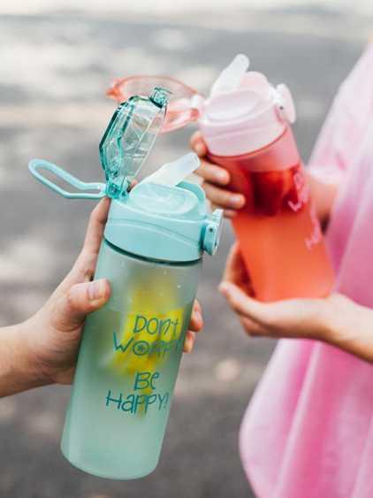 水杯 成年可愛帶吸管杯子婦便攜韓版大人塑料少女心帶刻度的水杯 秋冬特惠上新~