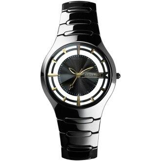 Relax Time RT-57-3黑金鏤空陶瓷腕錶/黑面36.6mm