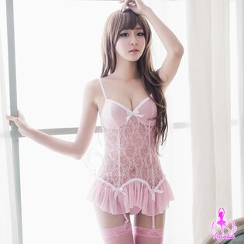亞娜絲情趣用品甜心粉紅蕾絲長馬甲+丁字褲+吊襪帶+網襪性感睡衣