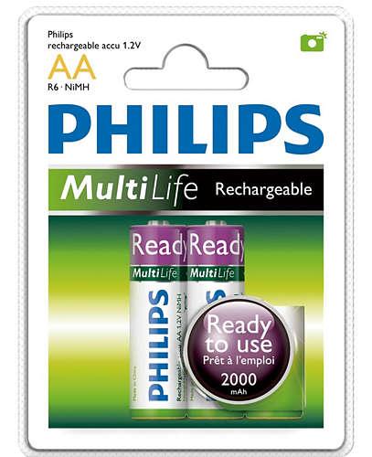 PHILIPS 飛利浦 鎳氫低自放充電電池3號2入【葳豐數位商城】