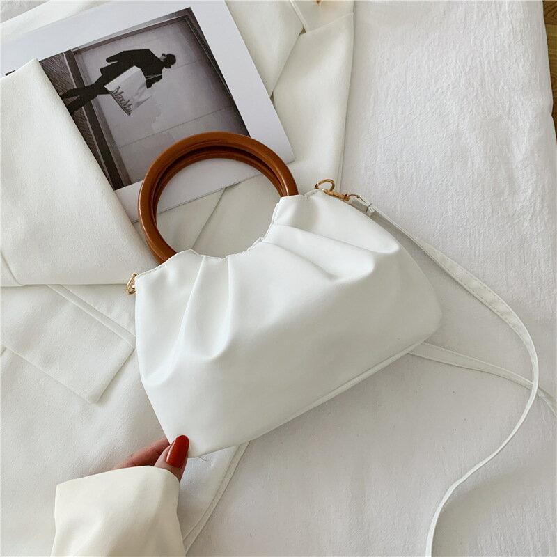 雲朵包女斜挎時尚褶皺小包簡約木柄手提包女單肩法國洋氣小包包