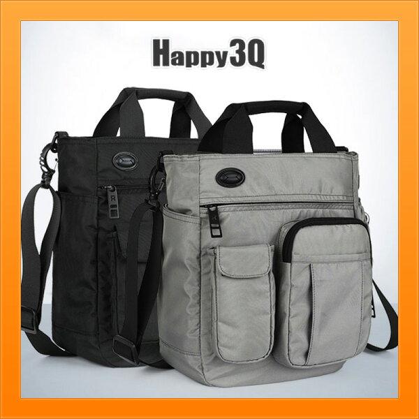 手拿包休閒帆布包大容量3C器材包媽媽包多分隔手提包斜背包-灰黑【AAA4335】