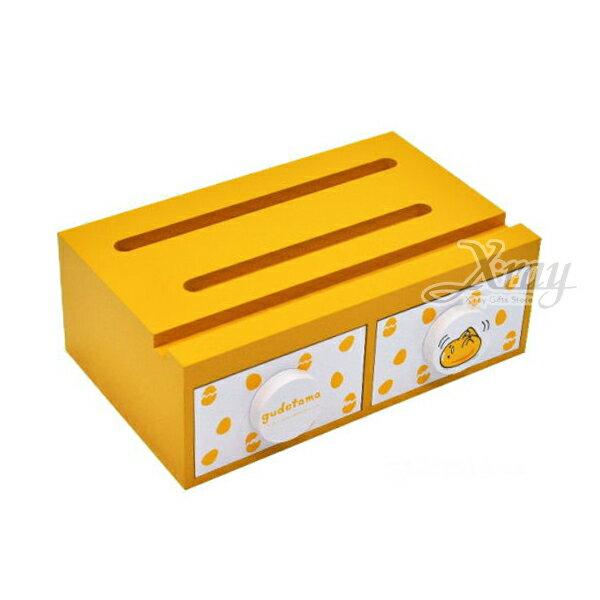 X射線【C991018】蛋黃哥Gudetama手機兩抽盒,置物櫃收納櫃收納盒抽屜收納盒木製櫃木製收納櫃收納箱桌上收納盒