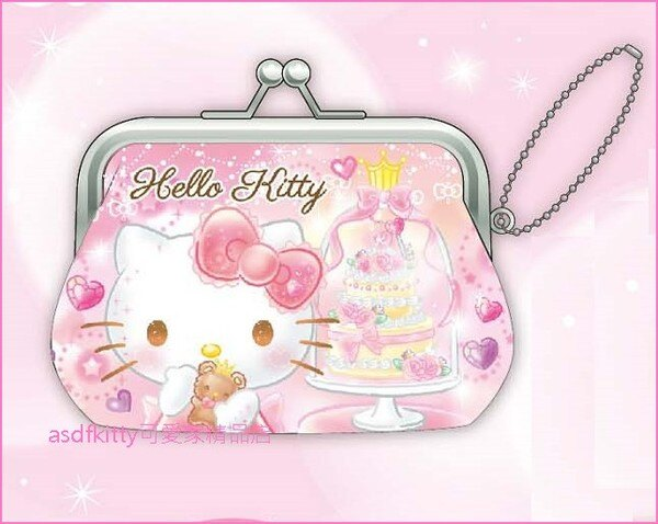 asdfkitty可愛家☆KITTY粉蛋糕雙珠扣零錢包-防水材質-可當印章袋-日本正版商品