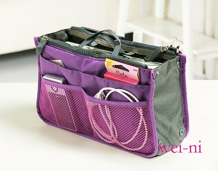 wei-ni 雙拉鍊雙層超大加厚手提包中包 旅行收納袋中袋 旅行袋 收納包 化妝包 包包收納袋