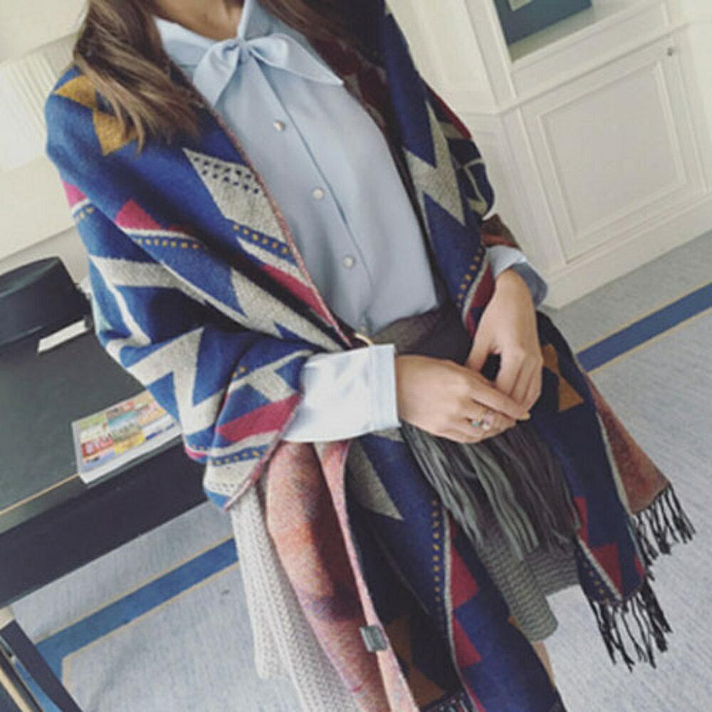 ✤宜家✤【WI16111434】冬季保暖時尚民族風針織流蘇披肩