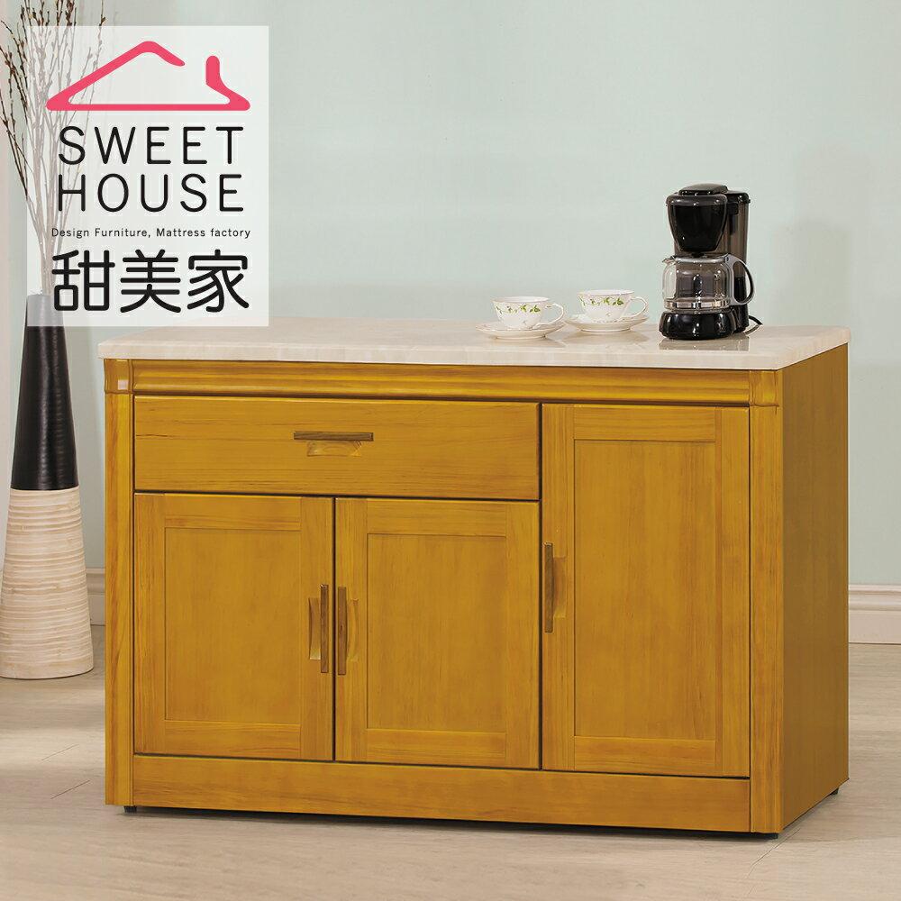 【甜美家】復古時尚香檜4.2尺石面餐櫃
