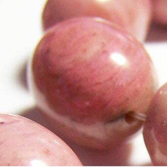 [粉桃紅紋]天然寶石 13X17mm米形珠 diy飾品散珠 3