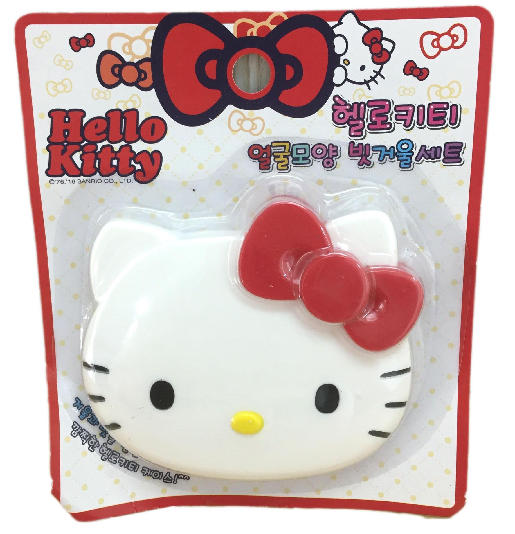 【真愛日本】16071200021鏡梳組-KT大頭紅   三麗鷗 Hello Kitty 凱蒂貓   梳妝鏡  日用品