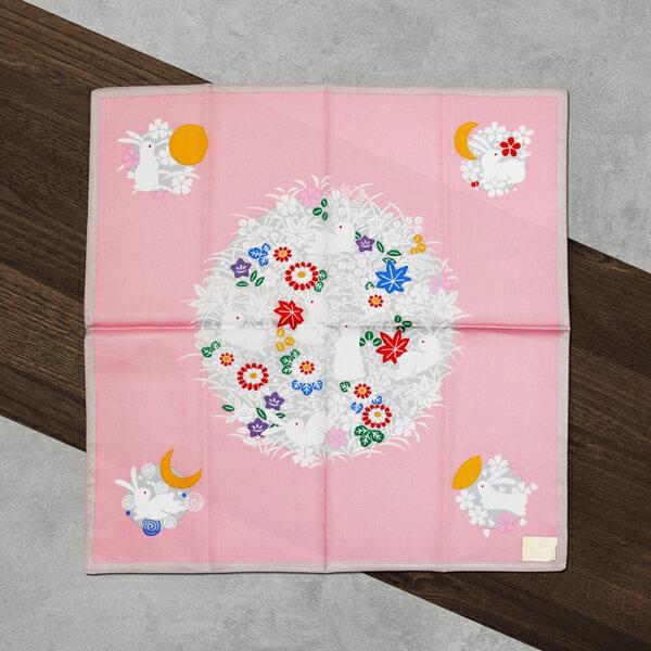 日本集采苑-Rabbit兔子手帕方巾頭巾(粉)《日本設計製造》《全館免運費》