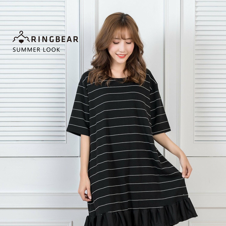 氣質洋裝--可愛氣質系條紋抽皺荷葉下襬五分袖連身裙(黑XL-5L)-D455眼圈熊中大尺碼 0