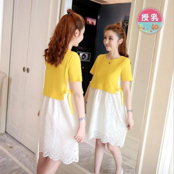 *漂亮小媽咪*韓國假兩件拼接布蕾絲短袖哺乳連身裙孕婦裝洋裝B3776