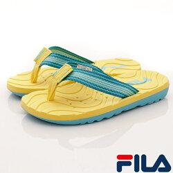 FILA頂級童鞋 輕量排水拖鞋款 FO34R-933黃藍(中大童段)