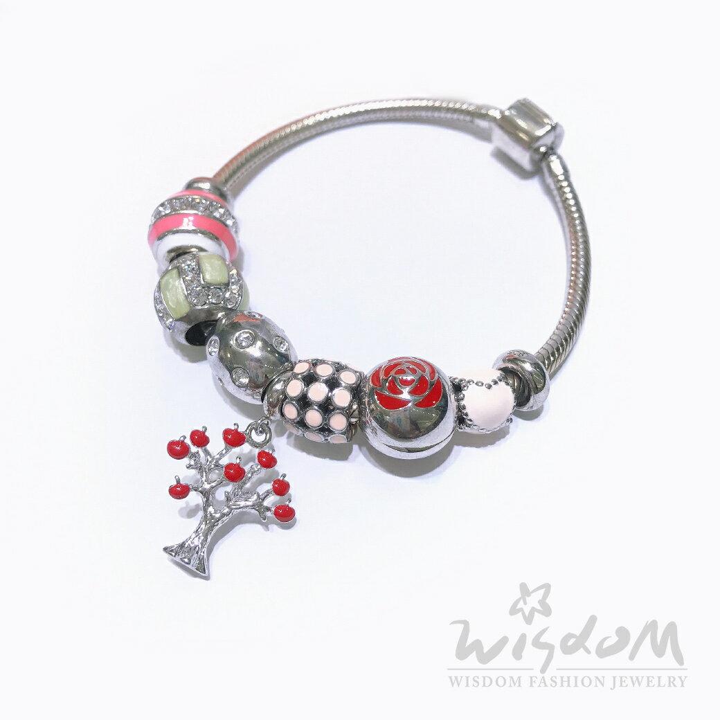 威世登時尚珠寶 蘋果樹潘朵拉串飾銀手鍊 SC00091-HAXX