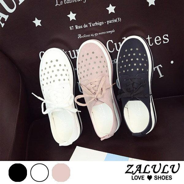 ZALULU愛鞋館7CE168預購透氣洞洞綁帶厚底休閒包鞋-偏小-黑粉白-36-39