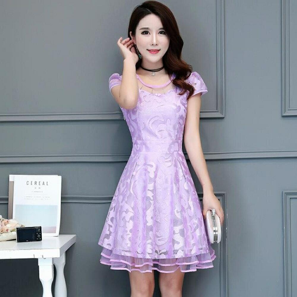 春夏新款中長裙夏季大碼女裝修身拼接甜美雪紡印花蕾絲連身裙 雙12購物節