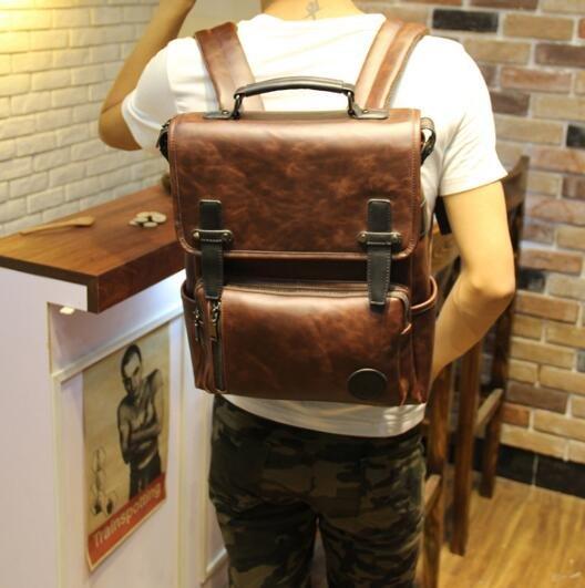 FINDSENSE Z1 韓國 時尚 潮 男 皮質 學生包 大容量 書包 電腦包 旅行包 後背包 雙肩包