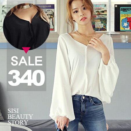 SISI~L6034~寬鬆顯瘦V領蝙蝠袖長袖雪紡衫飛鼠袖上衣