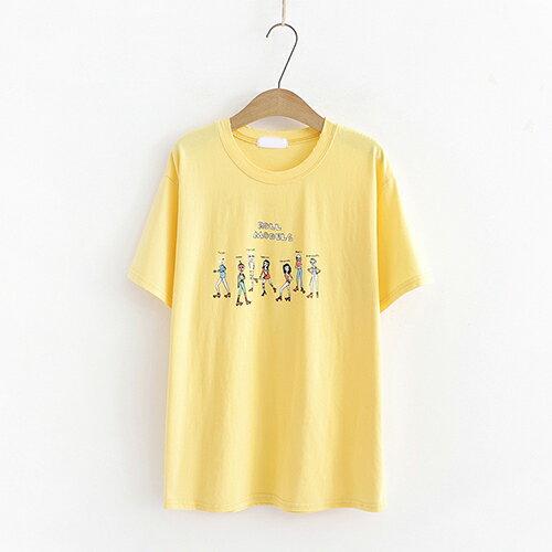*ORead*短袖棉質寬鬆百搭印花T恤(4色F碼) 3