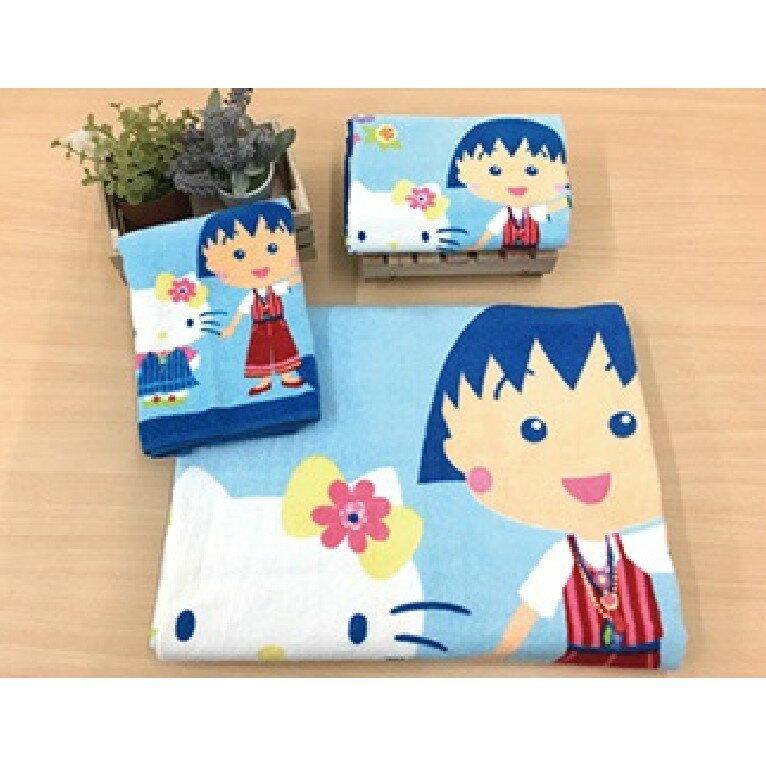 【Sanrio三麗鷗】凱蒂貓x小丸子波西米亞毛巾 100%棉 33x76cm