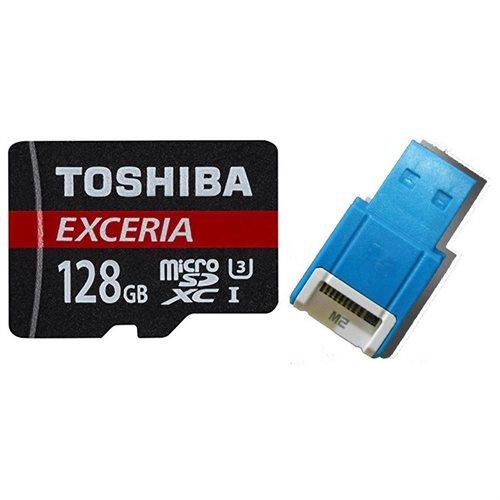 Toshiba EXCERIA M302 128GB 128G microSDXC 4K 90MB/s Class 10 UHS-I U3 C10 microSD micro SD SDXC Memory Card THN-M302R1280EA + OEM USB 2.0 Card Reader 0