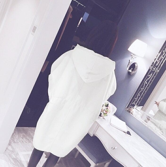 紮實溫暖.純色寬鬆中長款連帽外套- shiny藍格子【V2145】★★ 7