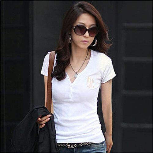 全店65折滿$599免運 韓版修身白色五分袖純棉短袖T恤 (3色,M~XXL) - ORead 自由風格
