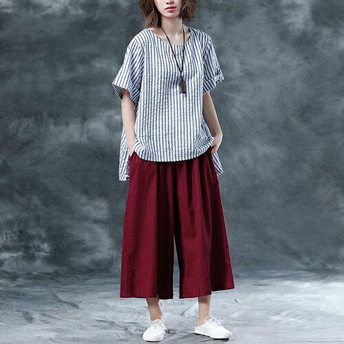 韓版寬鬆條紋上衣九分褲兩件套(2色M~2XL)【OREAD】 1