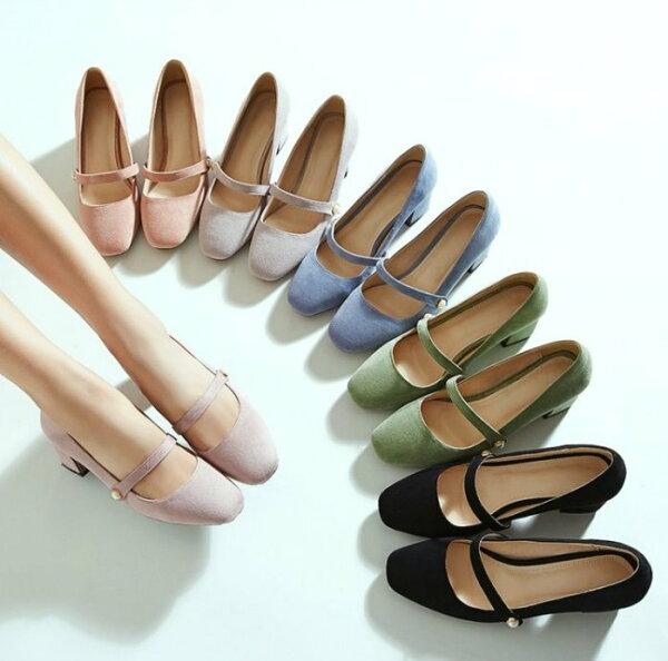 Pyf♥氣質瑪莉珍氣質上班族方頭粗跟鞋優雅珍珠低跟包鞋43大尺碼女鞋