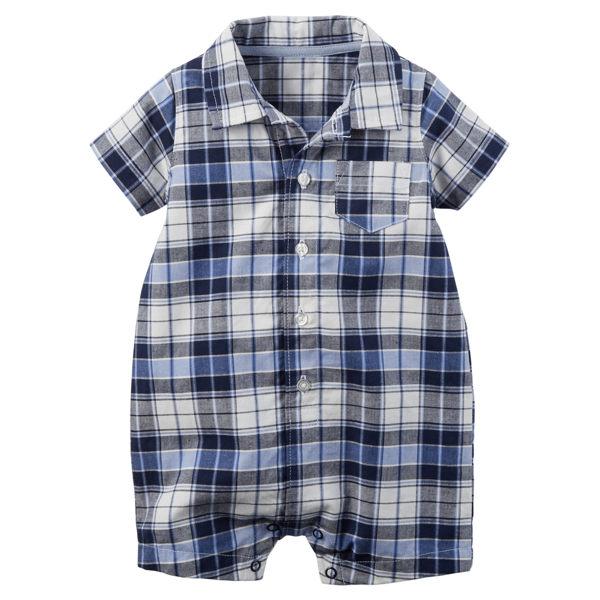 YODEE 優迪嚴選:Carter's美國童裝襯衫連身衣短褲短袖藍色格子3M6M9M12M18M24M