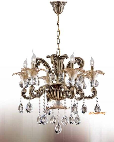 古銅色蠟燭水晶吊燈 E14 * 6