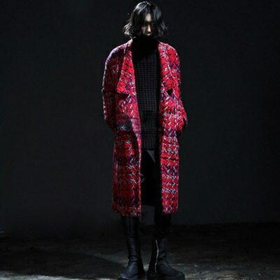 風衣外套長版翻領大衣-歐美時尚加棉保暖毛呢男外套2色73ip47【獨家進口】【米蘭精品】
