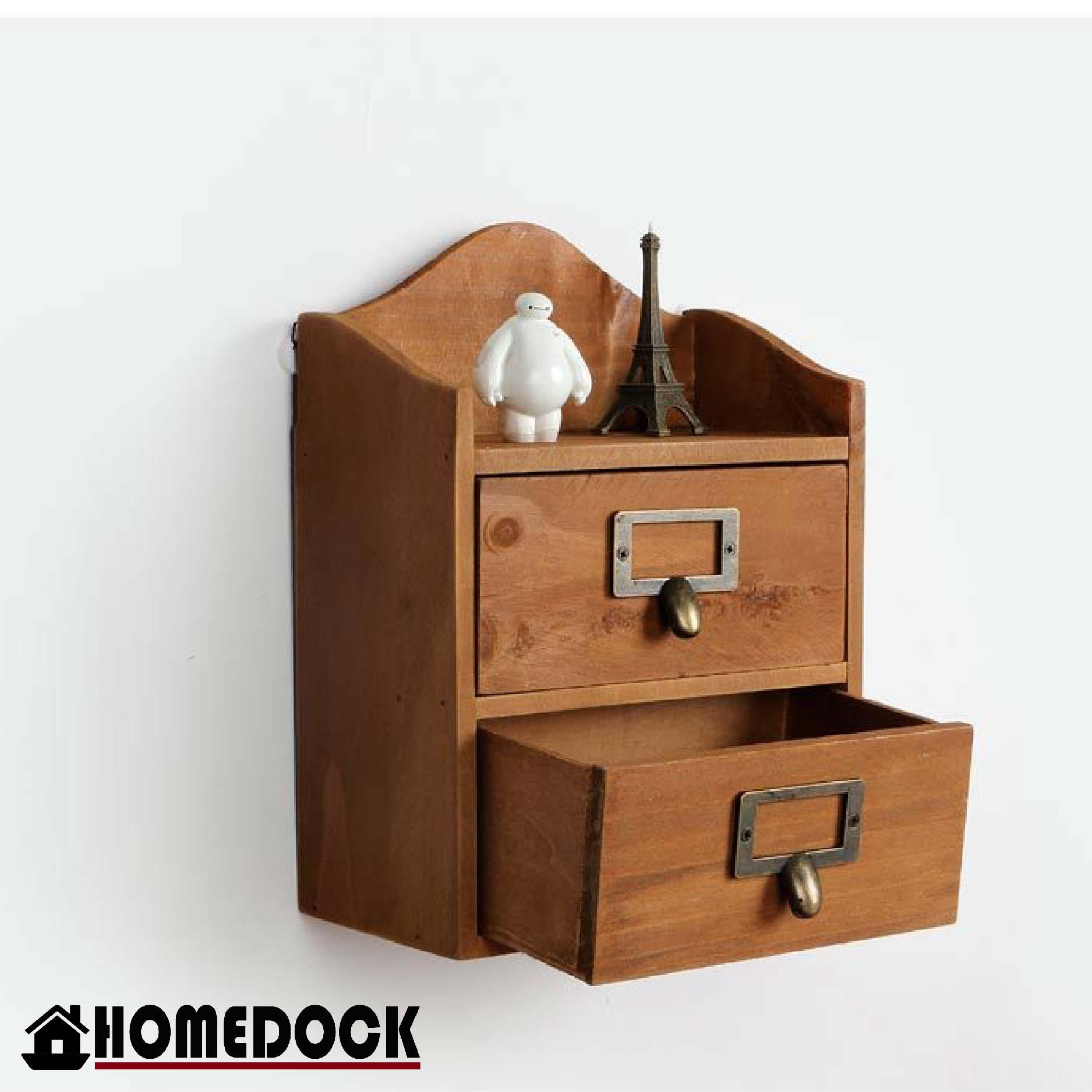 原木質感雙層抽屜整理櫃 /壁櫃/展示櫃/杯架/收納盒/原木/掛壁/壁掛/牆壁