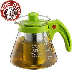 金時代書香咖啡 Tiamo 不鏽鋼濾網 玻璃花茶壺600cc 綠色 HG2216G