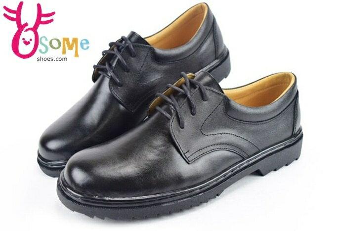 全真皮學生皮鞋 台灣製 綁帶款 學生皮鞋C4899#黑 奧森