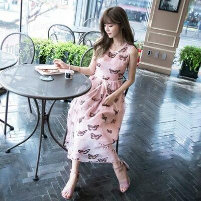連身裙無袖洋裝~粉色真絲蝴蝶印花女連衣裙73nj16~ ~~米蘭 ~