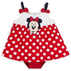 Disney baby米妮系列經典圓點細肩帶包屁衣-大紅