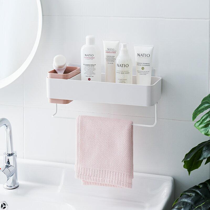 浴室置物架壁掛式洗手間收納免打孔多功能廁所壁掛收納架衛生間1入