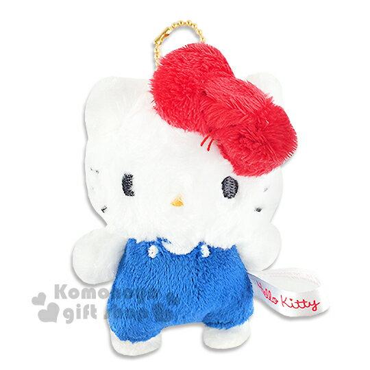 〔小禮堂〕Hello Kitty 絨毛娃娃吊飾《S.藍吊帶褲》