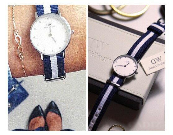瑞典正品代購 Daniel Wellington 0928DW 銀 玫瑰金 尼龍 帆布錶帶 女錶手錶腕錶 26MM 2
