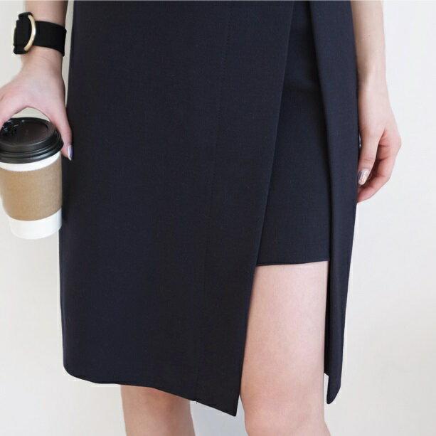 PS Mall 氣質OL不規則側開叉搭扣高腰半身裙及膝裙~T2081~ ~  好康折扣