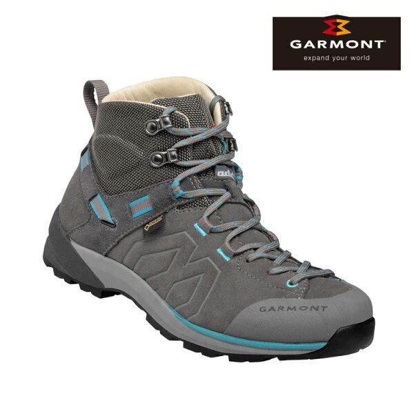 GARMONT女款Gore-Tex中筒郊山健走鞋SantiagoGTXWMS481240615灰藍色城市綠洲(登山健行鞋、GoreTex、防水、黃金大底)