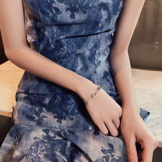 手鏈 夢幻彩石閃鉆星月手鏈CHIC原宿少女超仙手鐲男女情侶簡約手環 1