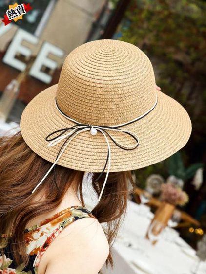 帽子 夏帽子女韓版潮草帽簡約百搭遮陽防曬漁夫帽日系手工可折疊沙灘帽 0