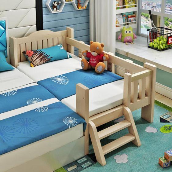 兒童床 實木兒童床帶小床男孩女孩公主床單人床邊床加寬拼接大床【快速出貨】 0