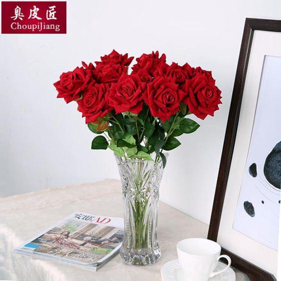 干花仿真玫瑰花套裝花束假花玫瑰花客廳餐桌擺件花藝插花干花擺設裝飾【快速出貨】 0