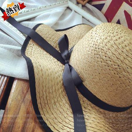帽子 女海邊夏天防曬太陽草帽出游大檐沙灘遮陽帽夏休閒百搭韓版潮 2