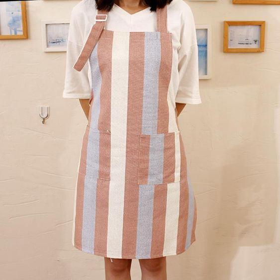 圍裙 簡約時尚純棉防油清潔圍裙廚房餐館做飯家居男女半身工作服面包店 2